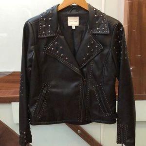 SILENCE & NOISE- Vegan Leather Moto Blazer Jacket